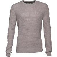 Kangaroo Poo Mens Waffle Knit Sweater Light Grey Marl