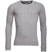 Kangaroo Poo Mens Cable Knit Crew Neck Sweater Silver Grey