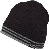 Kangaroo Poo Mens Knitted Striped Edge Beanie Hat Black