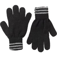 Kangaroo Poo Mens Knitted Striped Edge Gloves Black