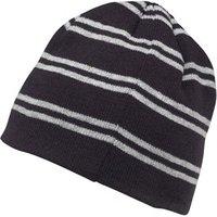 Kangaroo Poo Boys Knitted Striped Beanie Hat Navy/Grey Marl