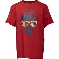 Kangaroo Poo Boys Wave Riders Skull Print T-Shirt Red