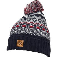Kangaroo Poo Mens Fairisle Hat With Bobble Navy/Multi