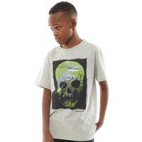 Kangaroo Poo Boys Skullscape T-Shirt Grey Marl