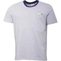 Lacoste Mens Crew Neck Live T-Shirt With Print Palladium Chine/White-Jazz