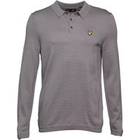 Lyle And Scott Vintage Mens Long Sleeve Mercerised Cotton Knitted Polo Grey Marl