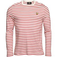 Lyle And Scott Vintage Mens Long Sleeve Bretton Stripe T-Shirt Racing Red