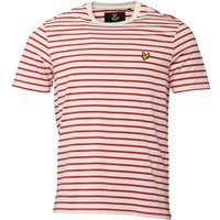 Lyle And Scott Vintage Mens Breton Stripe T-Shirt Racing Red