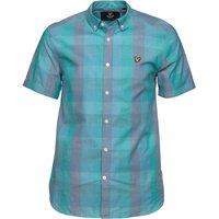 Lyle And Scott Vintage Mens Short Sleeve Check Shirt Aqua Green