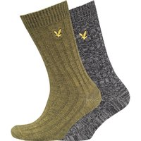 Lyle And Scott Vintage Mens Mouline Two Pack Socks True Black/Bay Green