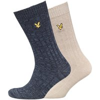 Lyle And Scott Vintage Mens Mouline Two Pack Socks Dark Navy/Light Stone