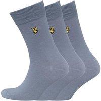 Lyle And Scott Vintage Mens Plain Three Pack Socks Mist Blue