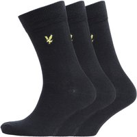 Lyle And Scott Vintage Mens Plain Three Pack Socks True Black