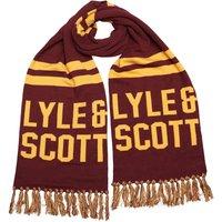 Lyle And Scott Vintage Mens Knit Text Scarf Claret Jug/Pollen Yellow