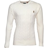 LUKE 1977 Mens Morden Cable Knit Jumper Delacreme