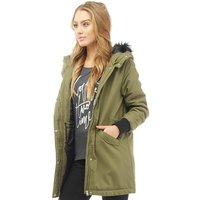 Noisy May Womens Karma Fur Trim Hood Parka Ivy Green