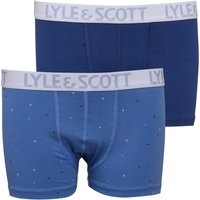 Lyle And Scott Boys Two Pack Boxers Twilight Blue