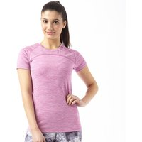 More Mile Womens Heathered Short Sleeve Running Top Pink
