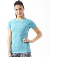 More Mile Womens Heathered Short Sleeve Running Top Blue