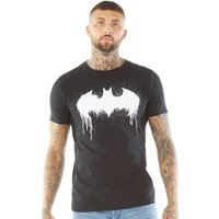 DC Comics Mens Batman Dripping Graffiti Logo T-Shirt Black
