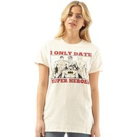 DC Womens I Only Date Superheros T-Shirt Natural