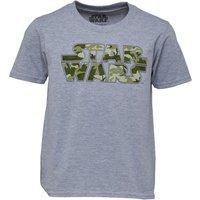 Star Wars Boys Camo Logo T-Shirt Grey Marl