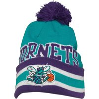 Mitchell & Ness Mens Charlotte Hornets Cuff Knit Bobble Hat Blue/Purple