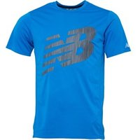 New Balance Mens Accelerate Printed Running Top Electric Blue
