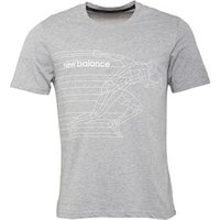New Balance Mens Accelerate Graphic Heathered Running Top Athletic Grey