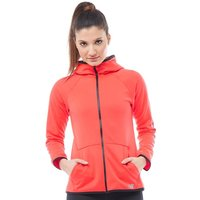 New Balance Womens Accelerate Tech Poly Fleece Full Zip Hoody Energy Red