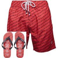 Smith And Jones Mens Baryon Swim Shorts & Flip Flop Combo True Red