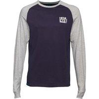 Henleys Mens Whato Long Sleeve T-Shirt Navy/Light Grey Melange