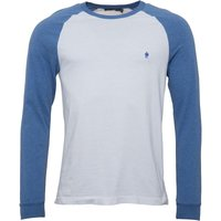 French Connection Mens Long Sleeve Raglan T-Shirt White/Blue Melange