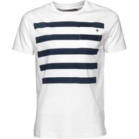 French Connection Mens Five Stripe T-Shirt White/Navy