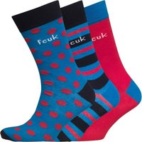 French Connection Mens Spot Stripe Three Pack Socks Marine/Red