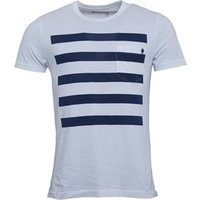 French Connection Mens 5 Stripe T-Shirt White/Marine