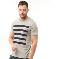 French Connection Mens 5 Stripe T-Shirt Light Grey Melange