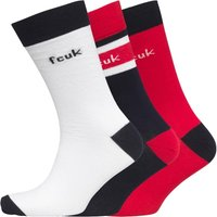 French Connection Mens Three Pack Socks White/Blue/Jester Red
