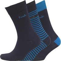 French Connection Mens FCUK Three Pack Stripe Socks Marine/Prince