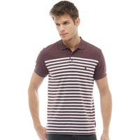 French Connection Mens 3/4 Stripe Polo Chateaux Melange/White