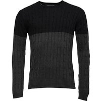 French Connection Mens Cable Block Crew Neck Jumper Black/Charcoal Mel