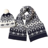 French Connection Mens Snowflake Hat And Scarf Set Navy/Cream
