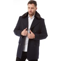 French Connection Mens Double Breasted Fur Lined Coat Marine