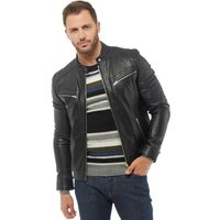 Onfire Mens Leather Jacket Black
