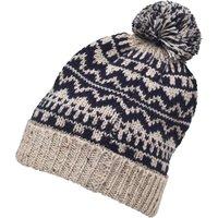 Onfire Mens Knitted Nepp Fairisle Hat With Pom-Pom Dark Navy/Ecru