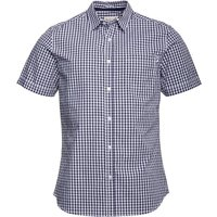 Onfire Mens Yarn Dyed Gingham Checked Short Sleeve Shirt Light Navy