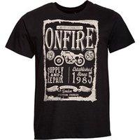 Onfire Mens Bike Print T-Shirt Black