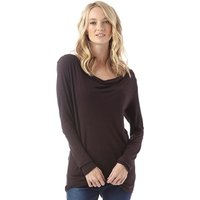 Onfire Womens Waterfall Neck Long Sleeve Top Black