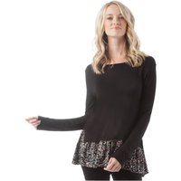 Onfire Womens AOP Mock Two Piece Long Sleeve Top Charcoal/Multi