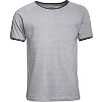 Onfire Mens Short Sleeve Ribbed Grandad Neck Top Grey Marl